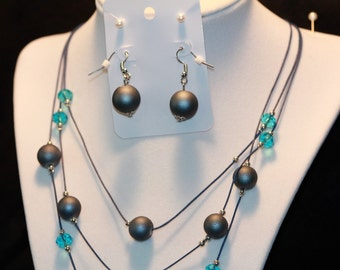 Blue beads and turquoise crystals 2 piece set