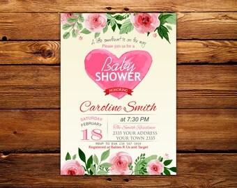 Valentine Baby Shower Invitation. Little Sweetheart Baby Shower Invitation. Flowers Watercolor. Sweet Heart Shower Invitation.