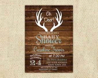 Oh Deer Baby Shower Invitation. Deer Baby Shower Invitation. Rustic Baby Shower Invitation. Boy Baby Shower. Girl Baby Shower. Deer Invite.