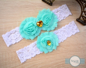 Something Blue Garter Set with White Lace, Rosette Baby Blue Flower & Gold Rhinestones by BespokeGarters
