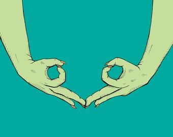 SALE 50% OFF: Ovary Gang Sign // Girl Gang // Feminine Decor //  Ovarian Art Print //  Grow a Pair // Ovary Art // Feminist AF // Girl Power
