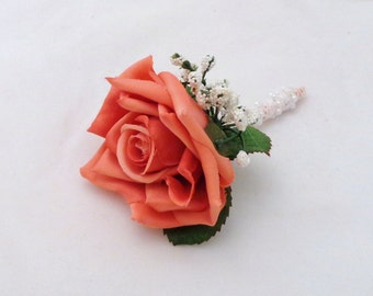 Coral Silk Rose Boutoniere-Wedding-Prom-Special Event-Coral Silk Rose Boutonniere