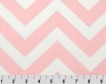 Shannon Fabrics, Blush Pink and White Chevron Cuddle Fabric, Pink and White Minky Fabric, Pink Chevron Minky Fabric, Fabric By The Yard