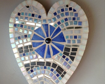 Mosaic heart in shades of blue,wall hanging FREE SHIPPING