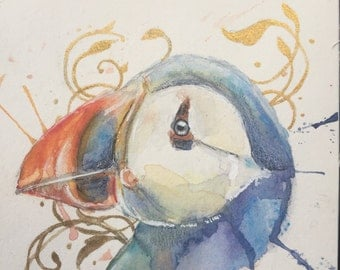 Mini Puffin Watercolor Painting