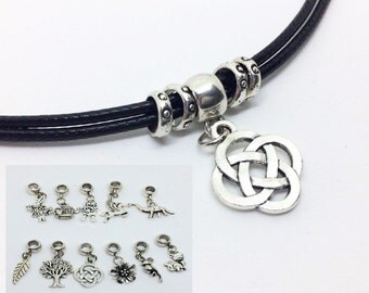 Silver pendant necklace, your choice of image, black cord choker necklace with silver charm