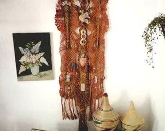 vintage wallhanging, mystic, macramee, 70s, handwoven, ceramic symbols, birds, masques, macramé, boho, livingroom, hippie, shaman