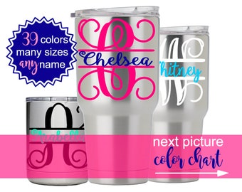 Split Letter Monogram Decal for Yeti, Yeti Tumbler Decal for Women, Yeti Name Decal Stickers, Custom Decals for Yeti Cups  DECAL ONLY 5LN3Y