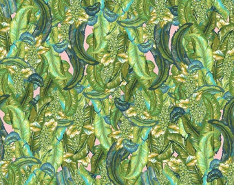 Tropical leafy design in Green and pink available on a variety of fabrics