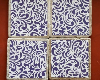 Travertine Ornate Purple Design Drink Coasters