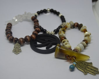 Yoga, Hamsa Hand, Hand of Miriam, palm shape amulet, five finger of five senses