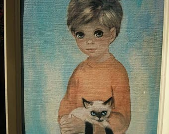 Vintage 1960's Dallas Simpson Big Eyed Boy With Siamese Cat Print in Frame Rare Item Interior Design BoutiqueByDanielle