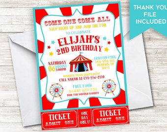 Circus Birthday Invitation Invite Girls Boys Kids Carnival Digital Personalized 5x7