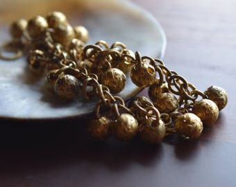 Vintage Brass Bohemian Bell Bracelet with Embossed Gold Beads