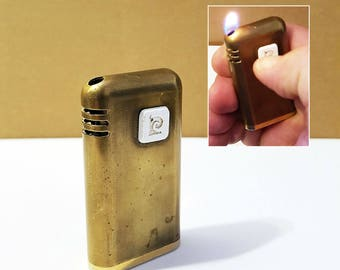 Vintage Pierre Cardin Brass Lighter, Working Condition, Made in Japan