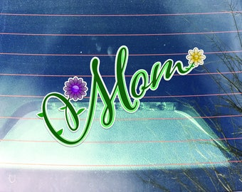 Mom Flower Script Decal    2-Pack   5.4-Inch By 4-Inch Premium Quality Vinyl Decal Sticker