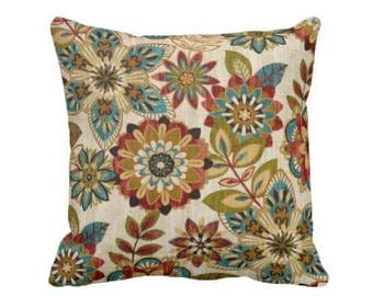 Floral Pillow Cover - Decorative Throw Pillow Covers - Blue and Red Pillows - Green Pillow - Couch Pillow - Pillow Sham - Colorful Pillow