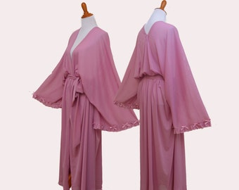 Dusty rose robes, Sweetheart pink robe, peony sheer cardigan, pink valentine robes, french rose robes, pink cardigan, pink bridal robes