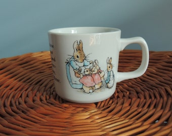 Vintage Peter Rabbit Baby Cup/Wedgwood/Beatrix Potter/Flopsy, Mopsy, Cotton-tail/Baby Gift, Baby Keepsake