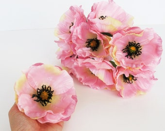 "10 Pink Poppies Artificial Flowers Silk Poppy 4.3"" Flower Wedding Anemones Supplies Faux Fake Anemone"