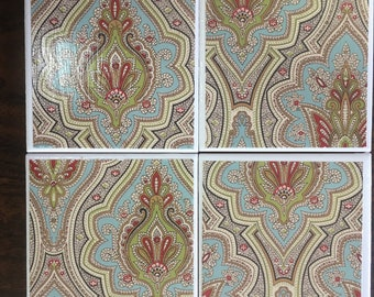Blue, Green Fancy Design Ceramic Tile Coasters