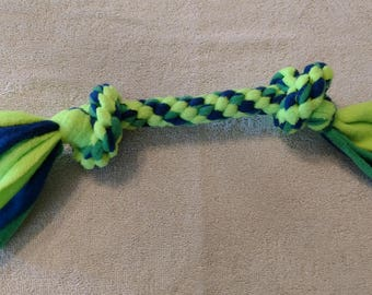 Fleece dog toy-dog tug toy-in neon green and blue