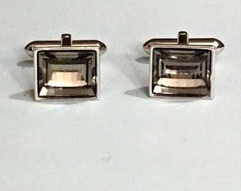 Vintage Cufflinks Cut Glass Silver Plated