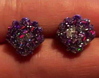 Purple and silver glitter shell stud earrings