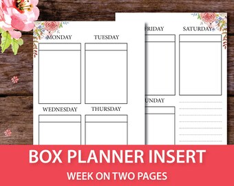 Weekly Box Planner Inserts 2017, Undated Weekly Planner, Week on 2 pages, Pocket Size, Personal Size, Kikki k, Filofax Personal Insert