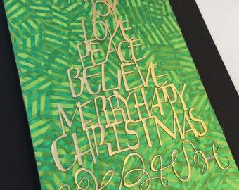 Christmas tree sign, holiday wood sign, Christmas word collage, mantle decor, wall decor, shelf decor, Christmas joy sign, teacher gift