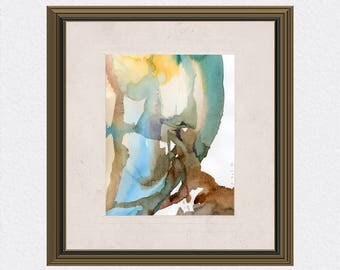 Abstract watercolor painting / Sculpture painting / Giclée watercolor print / Contemporary watercolor / Modern wall art / Surreal Art /