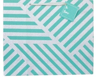 Gift Bag Geometric ZigZag Teal and Silver