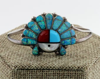 Zuni Sterling Silver Multi Stone Inlay Sun Face Bracelet by NG