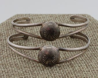 Navajo Sterling Silver Set of 2 Man in the Maze Children's Bracelets by Gary Edwards