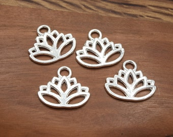 Charms of lotus flower Silver/Gold/Silver Tibetan/bronze in packs of 8/16 units