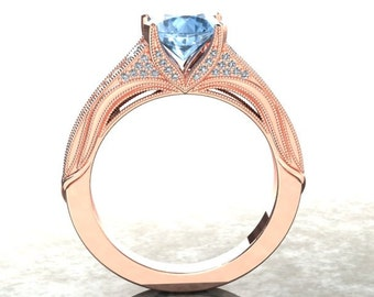 Aquamarine Engagement Ring In Either 14k Rose Gold Or 18k Rose Gold Set With Natural Diamonds CF11AQR