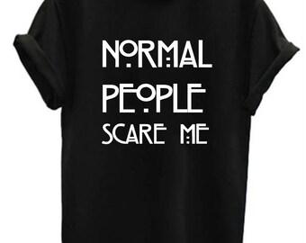 Normal People Scare Me funny t shirt top mens ladies unisex tv funny joke geek big bang humour black white burgundy maroon cotton