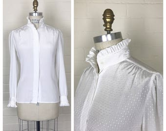 Vintage 80's does victorian white blouse  / long sleeve / dot pattern / medium or large / ruffle blouse
