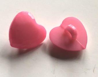 10 pink heart buttons, faceted heart buttons, pink buttons, 15mm heart buttons, shank buttons, craft buttons, resin buttons, buttons uk