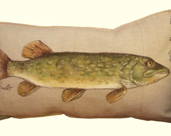 """NORTHERN PIKE FISH Pillow Cover, Decorative Fish Pillow Sham, 12"""" x 20"""" Hand Painted Pillow"""