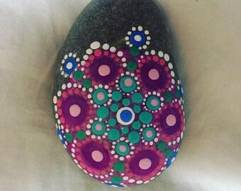 Pink Purple and Blue Mandala Stone