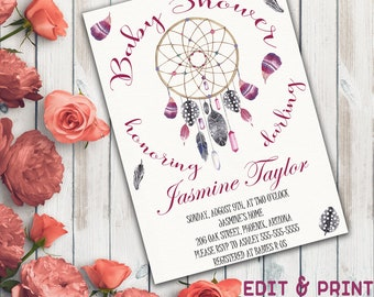 Dream Catcher Baby Shower Invitation, Boho Baby Shower Invitation, Gender Neutral Baby Shower Invitation, Feather, Instant Download