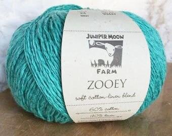 Zooey in Mint - Cotton Linen DK yarn - Juniper Moon Farms