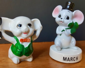Vintage Porcelain/China Mouse Figurines, St. Patrick's Day, Shamrock, Ceramic Mouse Statue