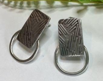 Sterling Silver Post Earrings, Oxidized Earrings, Silver Post Earrings, Circle and Rectangle Earrings, Textured Earrings, Organic Earrings