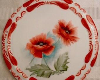 Red poppy trivet
