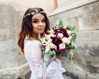 Bridal Headpiece, Boho Wedding Headpiece, White Flower Halo, Boho Headband, Bridal Floral Crown Wedding Hair Wreath, Boho Flower Crown