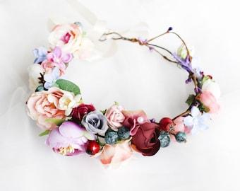 Fall Wedding Flower Crown, Boho Bridal Headband, Flower Girl Crown, Bridesmaid Headpiece, Floral Hair Wreath, Wedding Halo