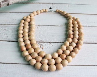 Chunky beaded necklace, wooden bead necklace, chunky wooden necklace, beaded necklace, multistrand necklace, natural necklace, wood necklace