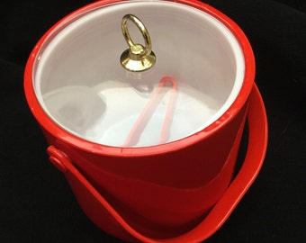 Vintage Red Ice Bucket